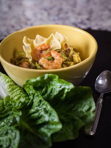 gluten-free recipes, lunch idea, light dinner, shrimp recipe, healthy recipes, shrimp salad, sesame shrimp recipes, easy meals, post workout meals