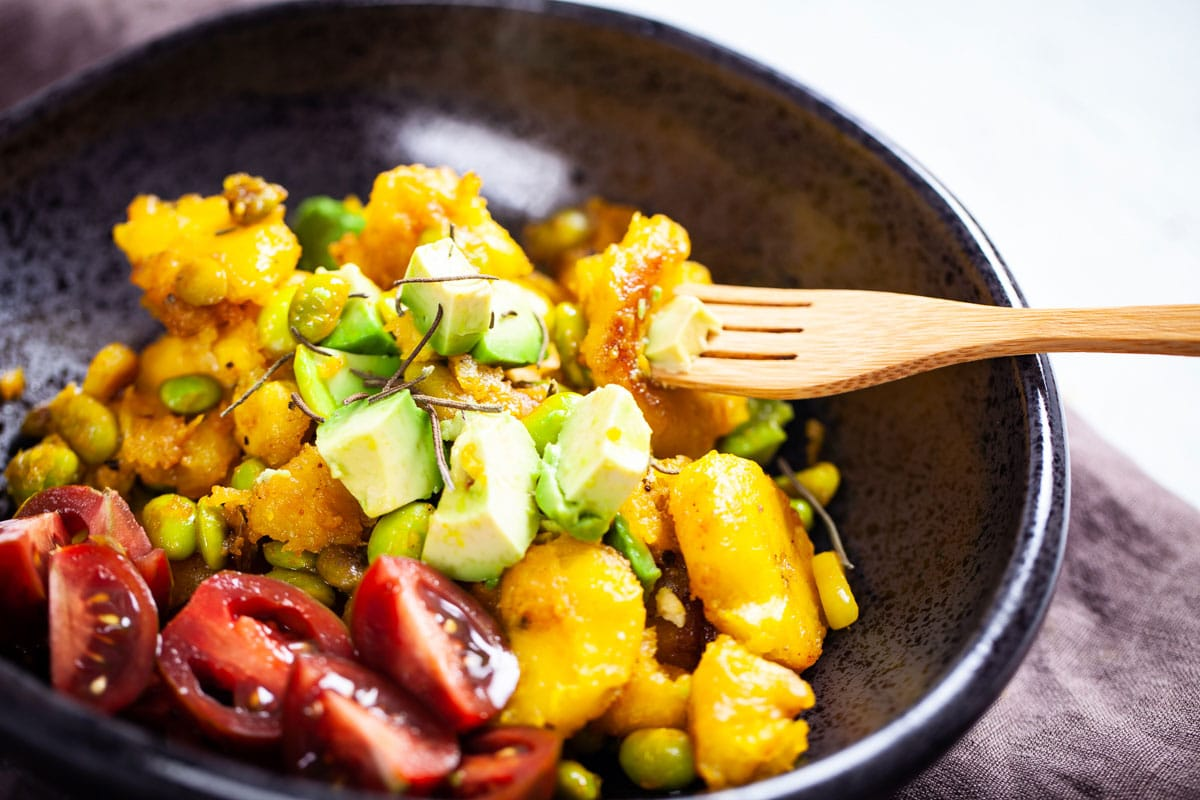 A Comforting and Quick Plantain-Edamame Bowl-Vegan Recipe