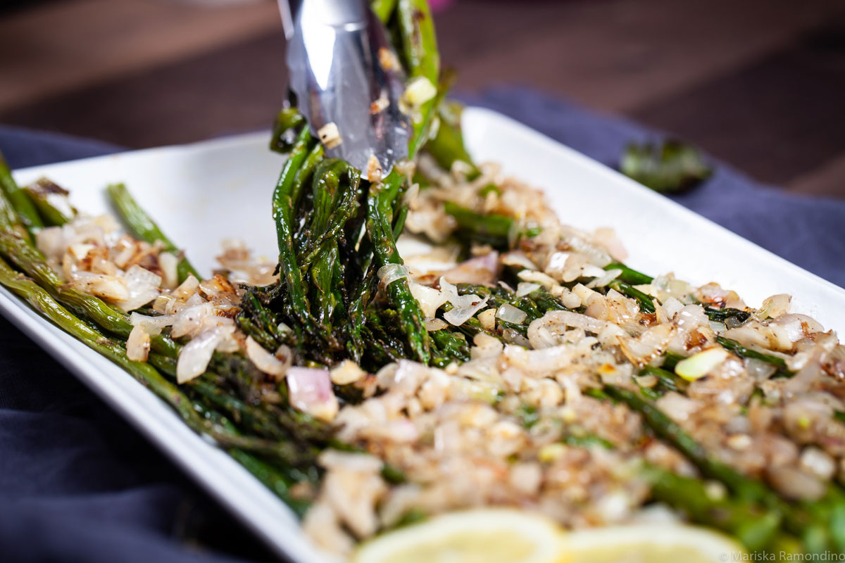 ROASTED ASPARAGUS WITH BUTTERED SHALLOTS & GARLIC SCAPES