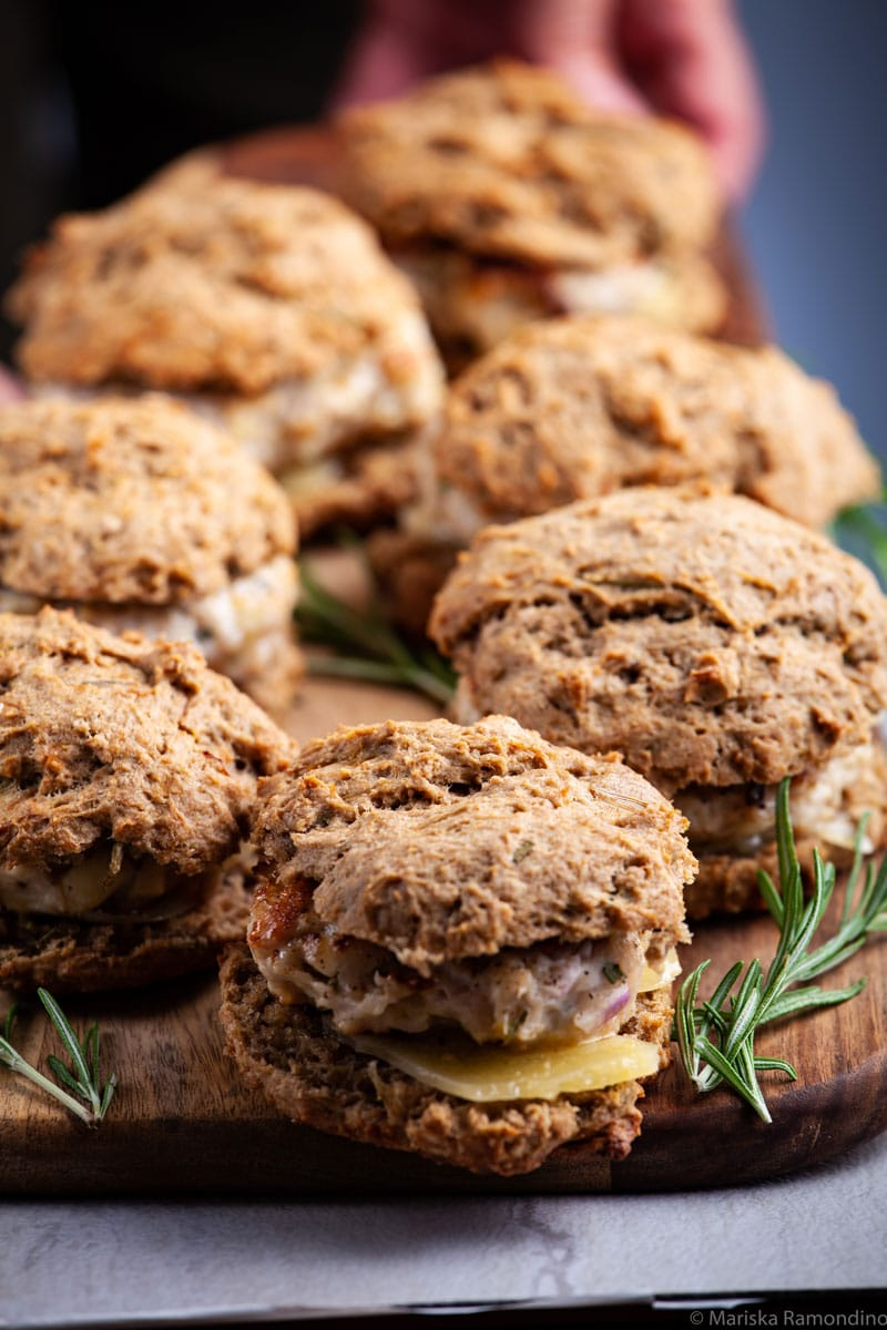 Healthy Italian Seasoned Turkey Burgers on Biscuits