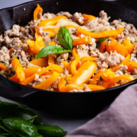 ITALIAN CHICKEN SAUSAGE AND VEGETABLE IN AN IRON SKILLET