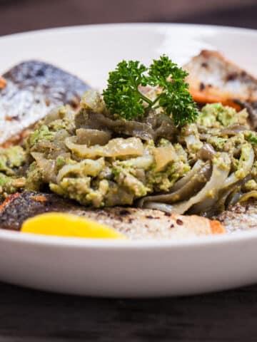 Salmon with Shirataki Pasta