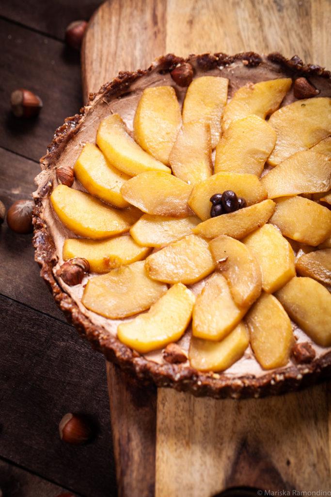 No Bake Mascarpone Fruit and Amaretto Tart with apples and hazelnuts