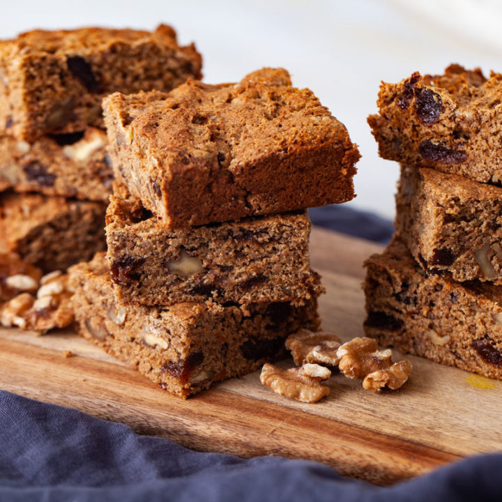 Healthy Apricot-Walnut Coffee Cake squares stacked (vegan, fat-free)
