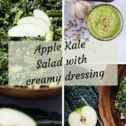 4 pictures showing a creamy kale salad and its ingredients.