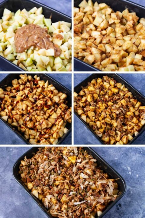 Six pictures with one showing chopped apples in a baking dish topped with a creamy mix; then the apples mixed in with the creamy consistency; then syrup drizzled over the same apple mix; then a nut mixture stirred in the apples; then finally the apples are topped with extra nut mixture.