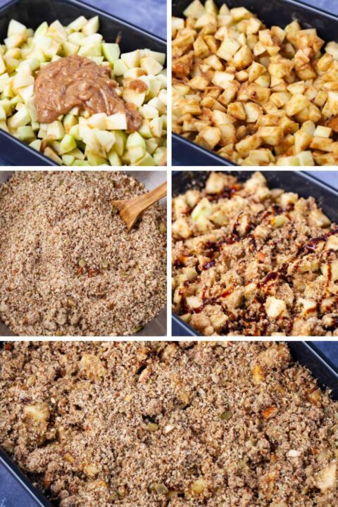 Six pictures with one showing chopped apples in a baking dish topped with a creamy mix; then the apples mixed in with the creamy consistency; then showing a bowl containing a fine nut crumble; followed by some of the nut crumble mixed in the apple mixture and drizzled with some syrup; then finally the apples are topped with extra nut mixture.