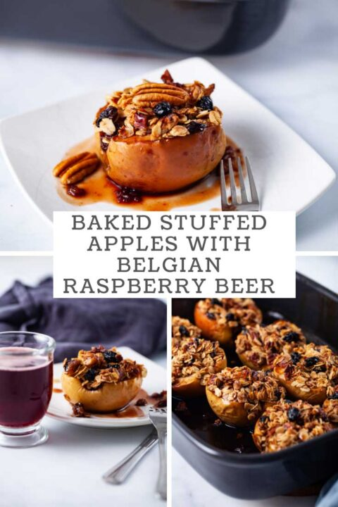 Baked stuffed apples with Belgian raspberry beer.