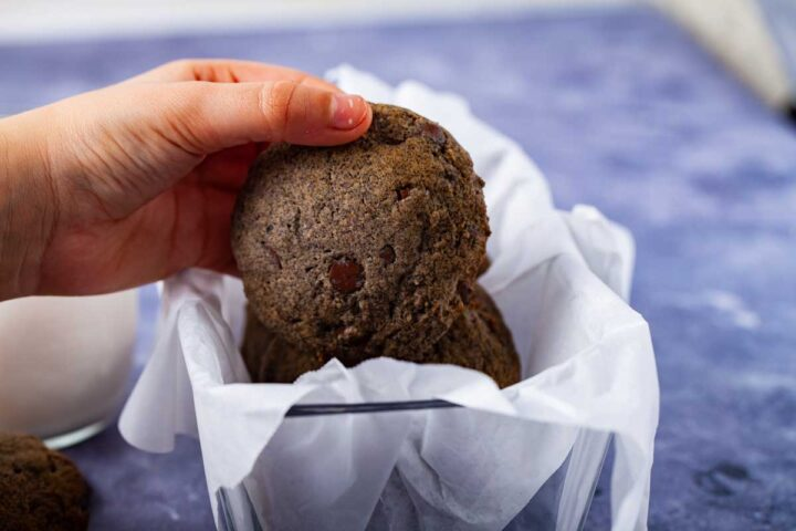 A child's hand holding up a chocolate chip cookies.