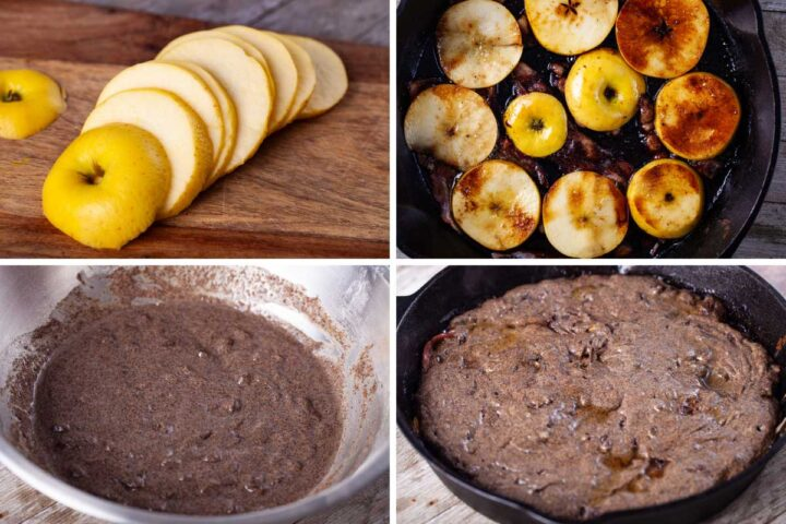 Four pictures with one showing golden sliced apples, the second showing apples baked with bacon in a large pan, the third showing buckwheat batter, and fourth showing buckwheat batter cooked in a skillet.