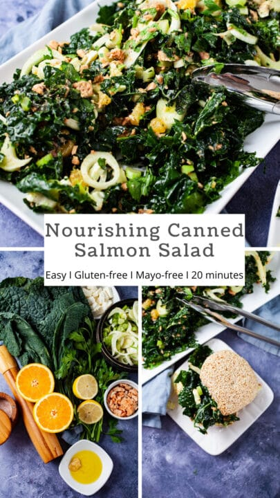 Nourishing Canned Salmon Salad, Easy, gluten-free, Mayo-free, 20 minutes.