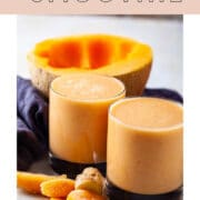 Two orange creamy drinks promoted as a healthy breakfast smoothie with cantaloupe.
