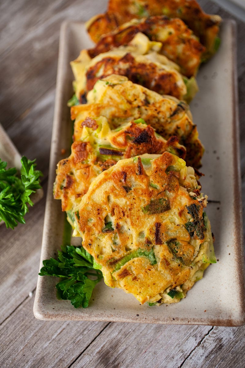 Chickpea Flour Vegetable Fritters on a Plate