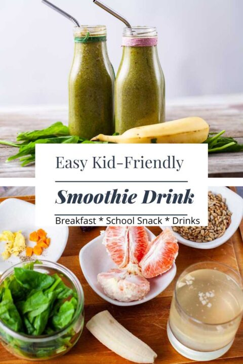 Pinterest image showing two green smoothie drinks and its ingredients.
