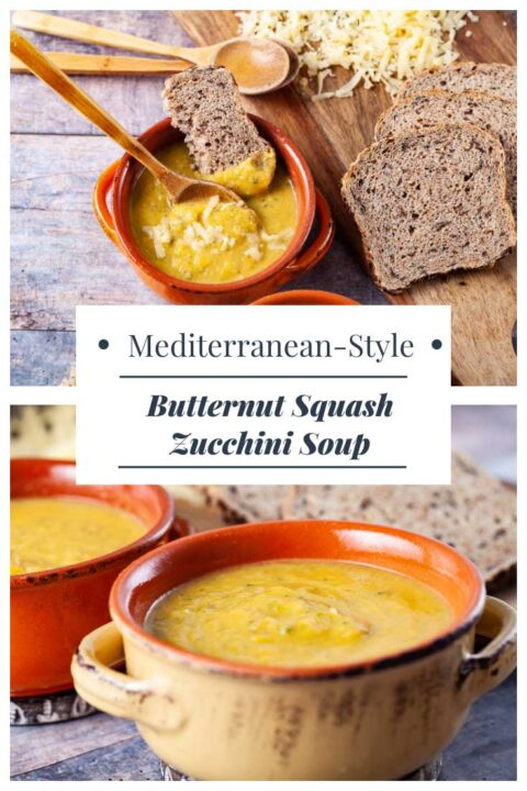 An image showing yellow squash soup from two different angles.