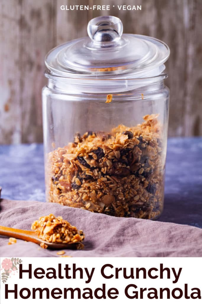 Healthy crunchy homemade granola stored in a glass jar.