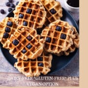 Healthy Gluten Free waffles topped with blueberries