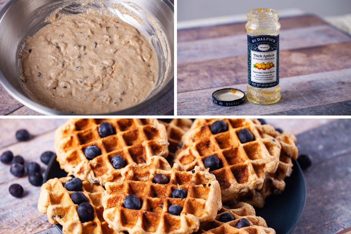 Waffle batter and preferred jam ingredient