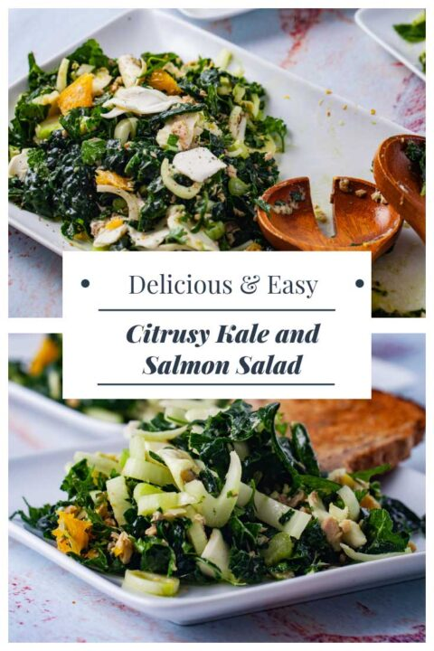 Delicious and Easy Citrusy Kale and Salmon Salad.