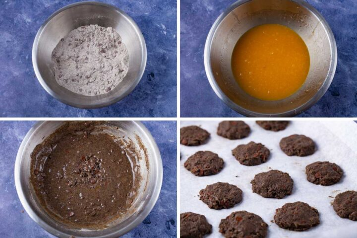Four pics first showing a bowl with an egg mixture, then a bowl with flour and chocolate mixture, then a bowl with the two mixtures combined, and then a baking sheet with raw cookie dough.