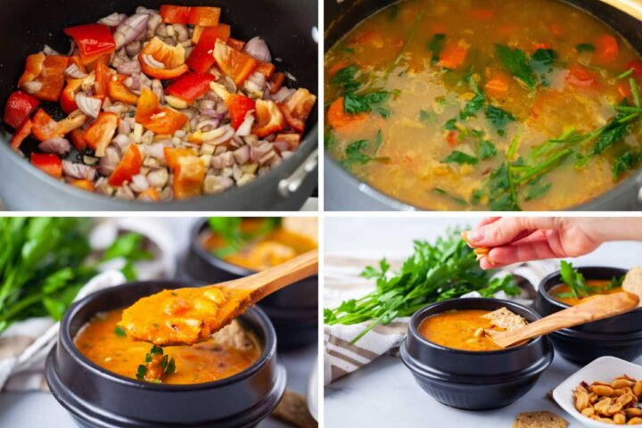 Four pictures showing first shallots and red bell pepper in some olive oil in a pot, then unblended carrot soup in a pot, followed by a close-up of a spoon showing the same soup pureed, and lastly a hand topping off the soup served in a black bowl with roasted peanuts.