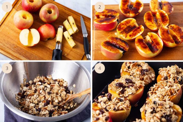 Four pictures showing first cored apples sliced in half; each apple half rubbed in dark syrup; a bowl of oatmeal and nut filling; and then the apples filled and topped with the oatmeal filling and laid out in a baking dish.