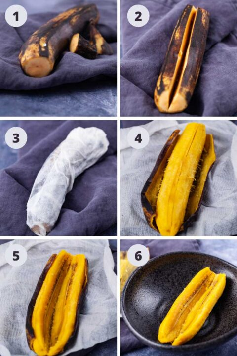 Steps showing how to microwave a plantain: remove ends of fruit, cut a slid lengthwise into the flesh, Wrap the fruit first in a paper towel and wet it with water. after microwaving, carefully remove paper towel and peel.