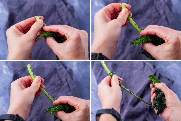 Four pictures showing how to de-stem kale leaves.