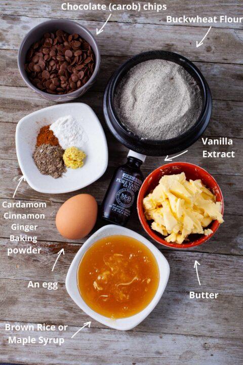 Ingredients needed to make buckwheat chocolate chip cookies.