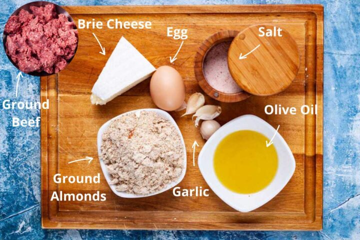 Ingredients to make no bun burgers: ground beef, Brie cheese, egg, salt, olive oil, garlic, ground almonds.