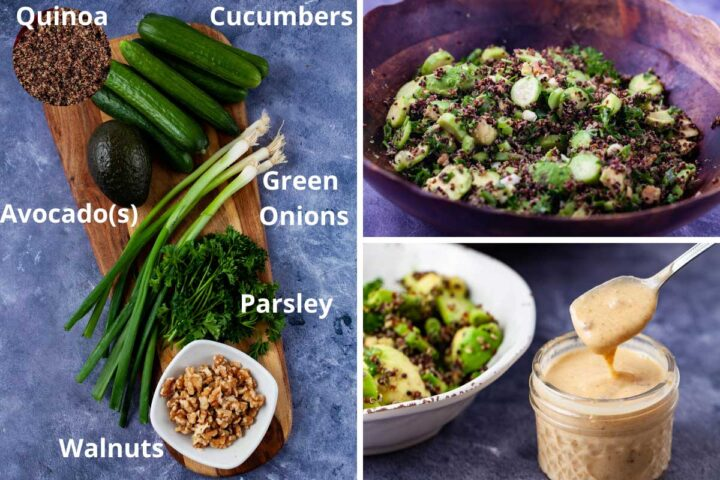 Ingredients such as quinoa, cucumbers, avocados, green onions, parsley, and walnuts displayed on a wooden board to make an avocado quinoa salad as shown next to it.