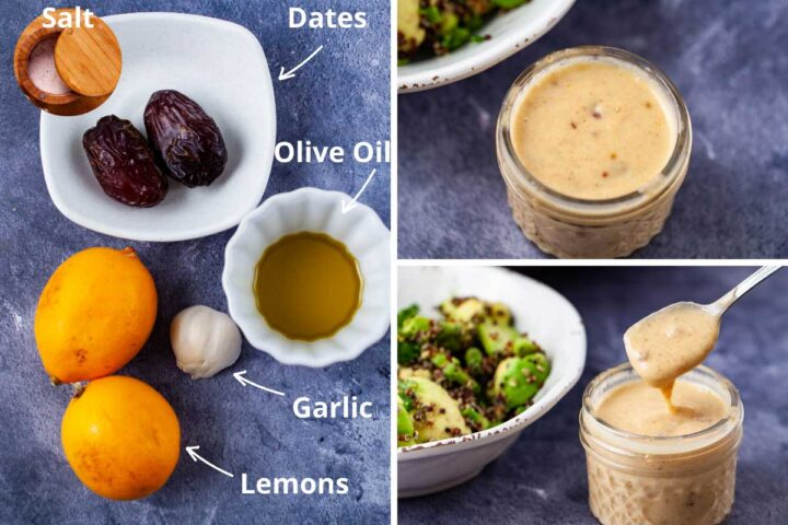 Ingredients such as salt, dates, olive oil, garlic, and lemons arranged together to make a creamy lemon dressing as shown next to it.