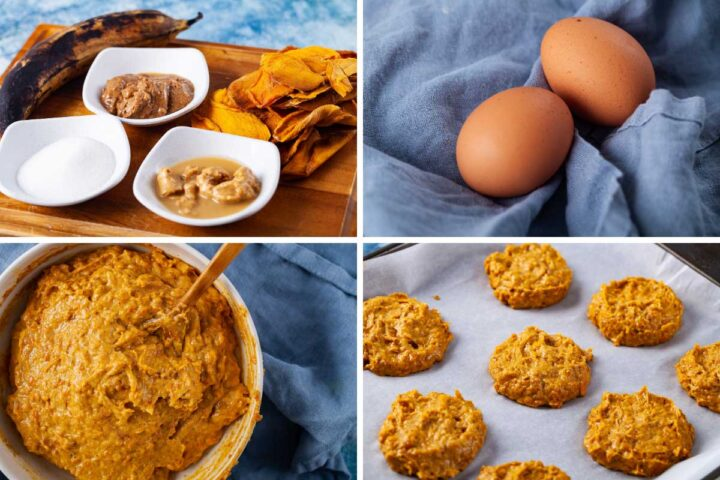 Four pictures, one showing mango cookie ingredients (dried mango, one plantain, Tahini butter, almond butter, and monk fruit sweetener), the second showing two raw eggs, the third showing mango cookie batter, and the fourth showing raw cookies arranged on a baking sheet—ready for the oven.