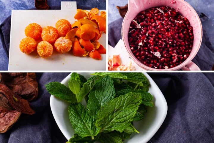 Ingredients to make a mocktail: peeled clementines, pomegranate seeds, fresh mint leaves.