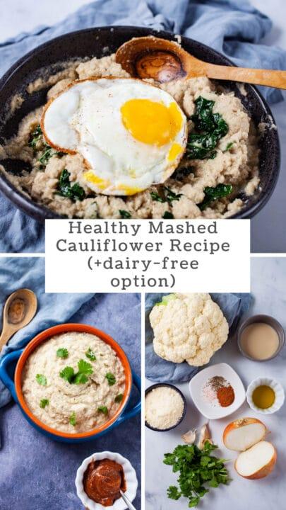Healthy Mashed Cauliflower Recipe (+dairy-free option).