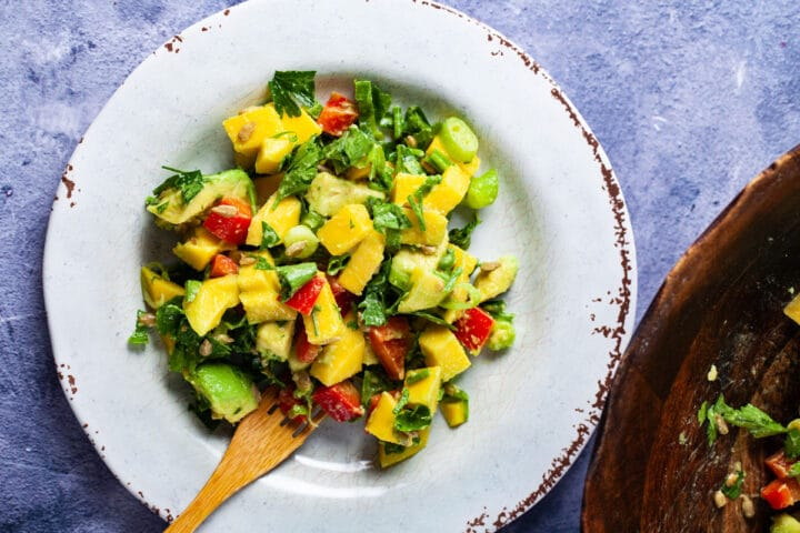 Fresh mango avocado and cilantro salad displayed on a plate with a wooden fork next to a salad bowl.
