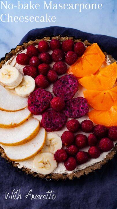 No-bake mascarpone cheesecake with Amaretto.