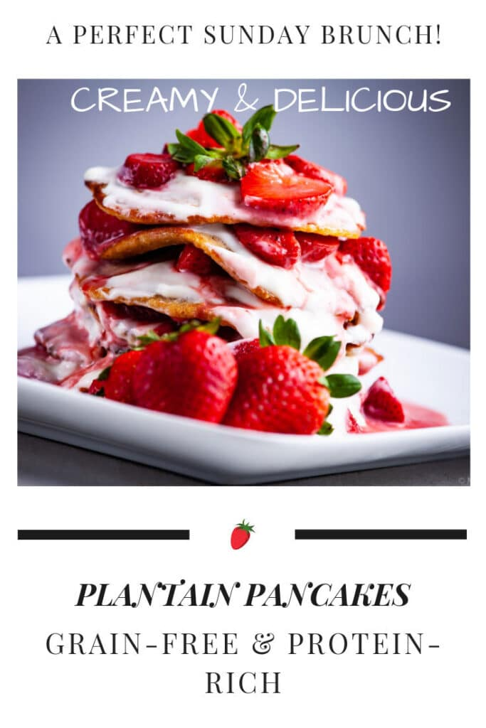 A stack of protein strawberry pancakes