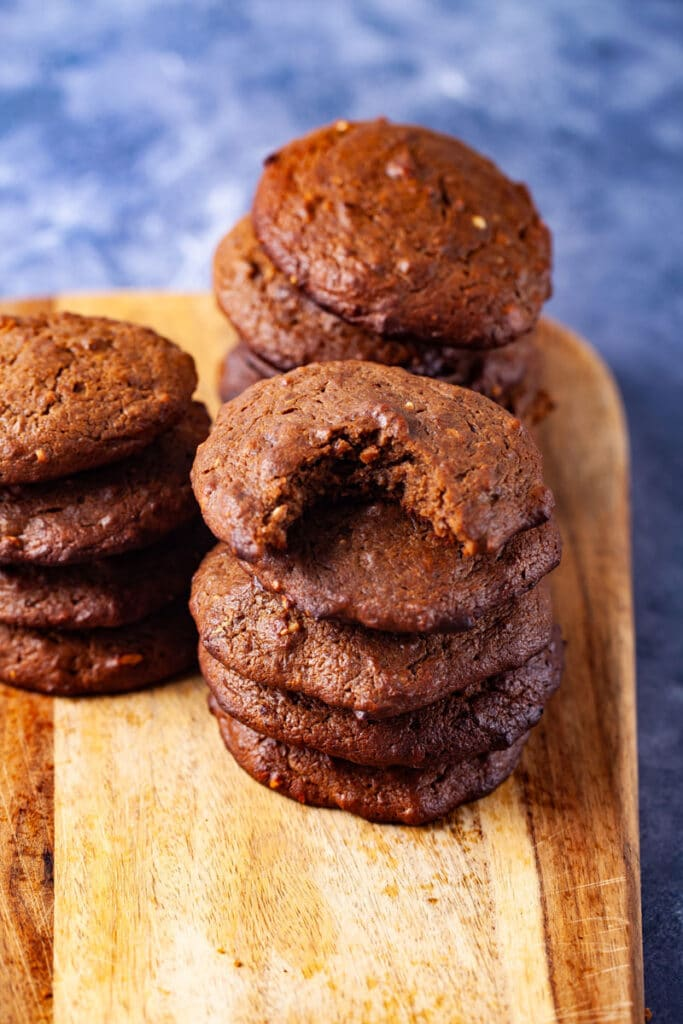 Stacked brown and baked soft cookies.