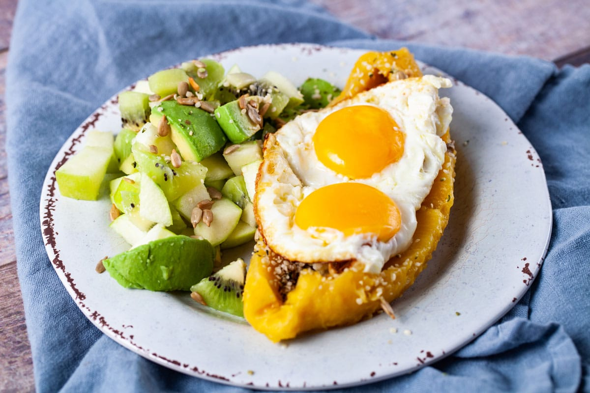 Healthy egg breakfast recipe with sweet plantain and green fruit salad