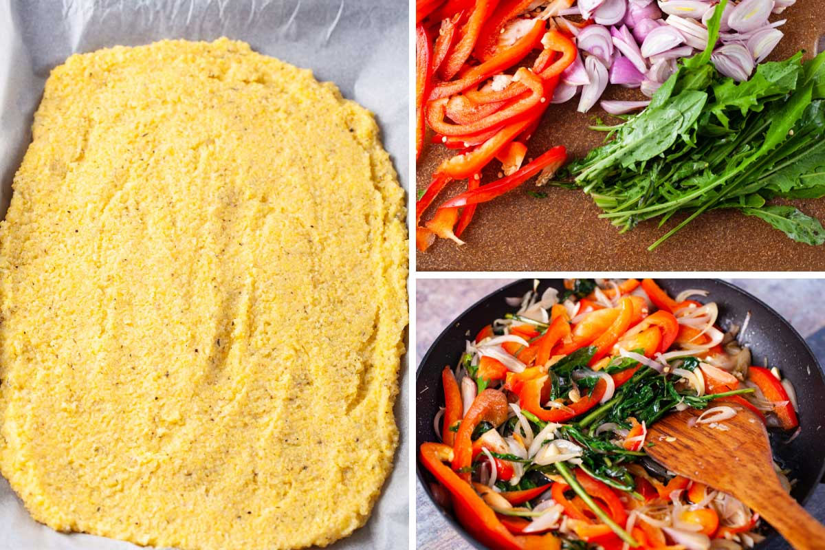 A polenta crust pizza base, and sauteed veggies for the topping.