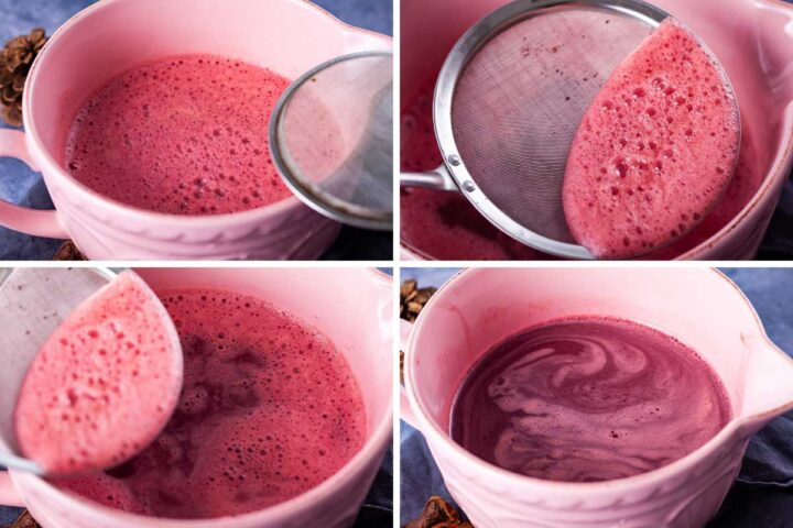 Four pictures showing how to filter the foam set on top of freshly juiced pomegranate seeds.