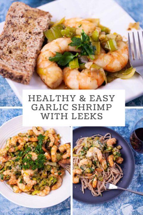 Healthy and Easy Garlic Shrimp with leeks.