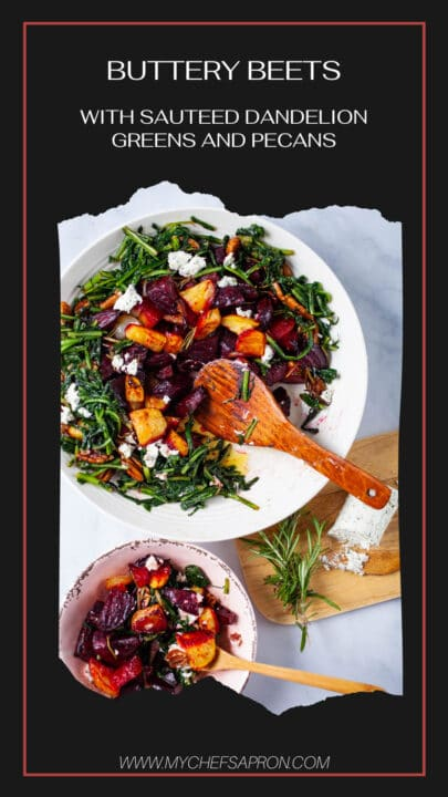 Buttery beets with sauteed dandelion greens and pecans.