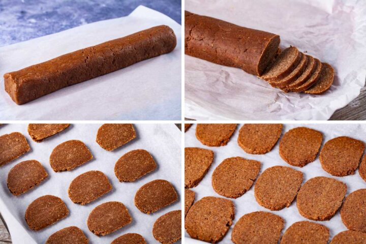 Four pictures; one showing cookie dough shaped in a large sausage; the second showing slices cut out of the dough; the third showing the sliced resting on parchment paper; the fourth showing the baked cookies resting on parchment paper.