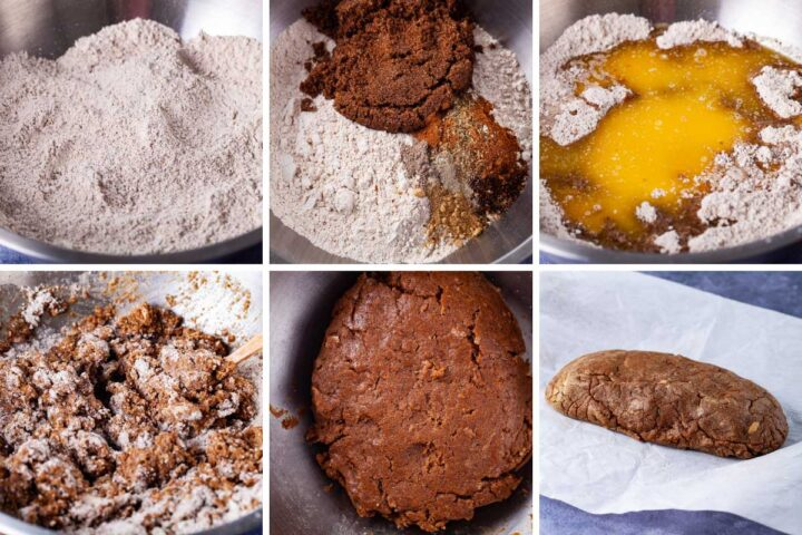 Six pics; one showing a bowl of flour; the second showing sugar and spices added to the bowl of flour; third showing butter and egg added to the bowl of flour; fourth showing all the ingredients mixed, third showing how ingredients forming a ball of dough; sixth showing the dough resting on parchment paper.