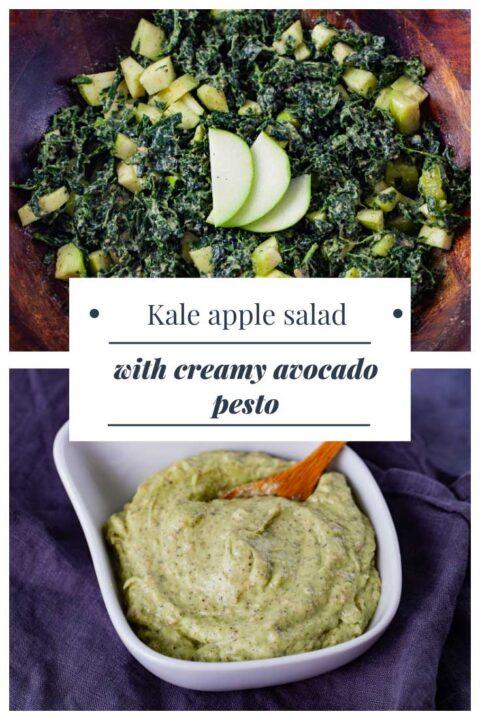 Kale apple salad with creamy avocado pesto.